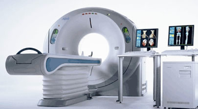 The apparatus for computed tomography (CT scan).