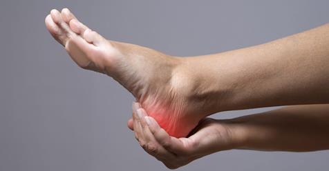 Plantar fasciopathy (plantar fasciitis or plantar fasciosis) usually worse with the first few steps in the morning or at the end of the day.